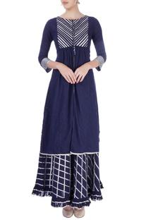 Navy blue kurta & skirt
