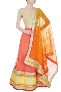 Light orange & yellow embellished lehenga set
