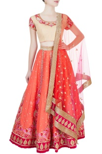 Orange & beige embroidered lehenga set