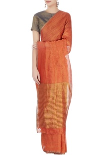 Burnt orange striped linen sari