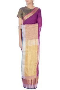 Purple linen sari