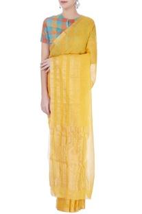 Yellow linen sari
