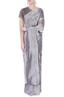 Silver grey linen sari