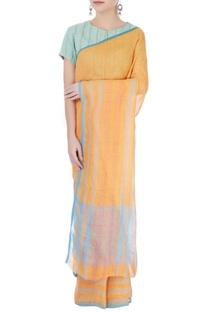 Light orange striped sari