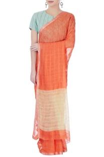 Orange line sari