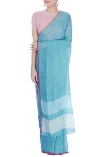 Light blue linen sari