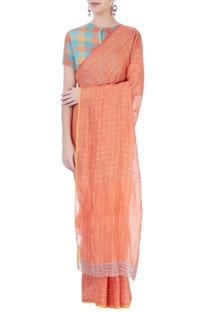 Orange checkered linen sari