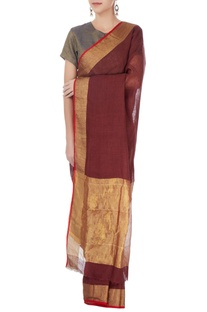 Dark brown linen sari