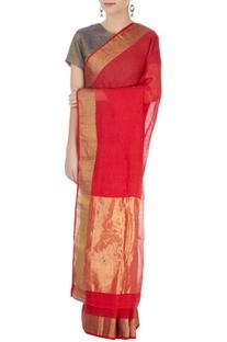 Red linen sari