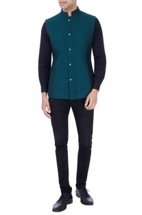 Black & bottle green reversible bandhi jacket