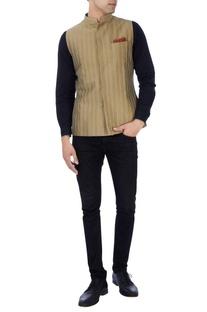khaki embroidered bandhi jacket