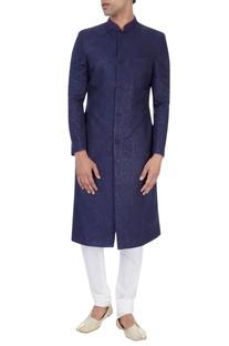 Navy blue embroidered sherwani