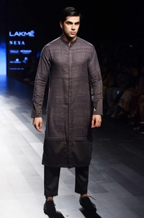 Charcoal grey long kurta
