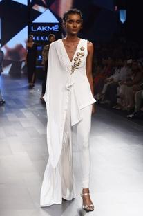 White asymmetrical jumpsuit