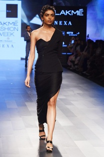Black one shoulder draped gown