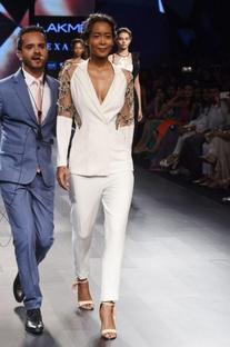 White embellished blazer pant set