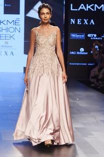 Light mauve embellished gown