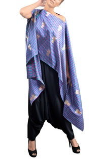 Blue checkered kaftan with pants