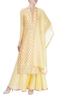 Yellow kurta set with badla embroidery