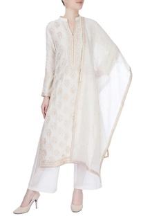 Ivory kurta with resham embroidery