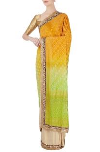 Orange bandhani effect sari