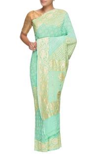 Mint green banarasi bandhani sari