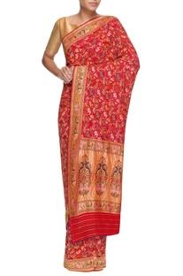 Red georgette bandhani sari