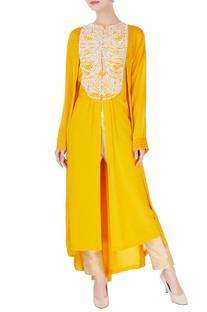 Yellow front open kurta
