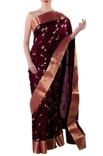 Plum gota sari with blouse piece