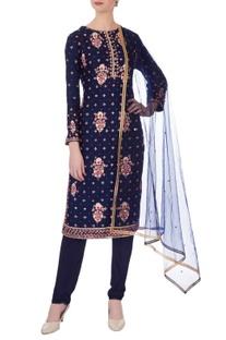 Navy blue gota embroidered kurta set
