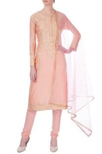 Peach gota embroidered chanderi kurta set