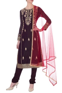 Dark purple gota embroidered kurta set
