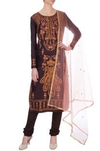 Brown kurta in orange thread embroidery kurta set