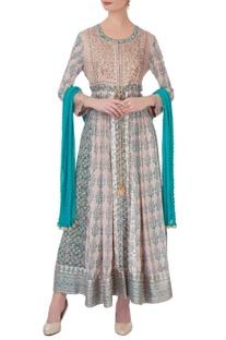 Blue & beige gota & thread embroidered kurta set