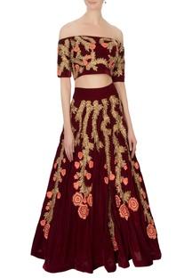 Maroon velvet embroidered lehenga set
