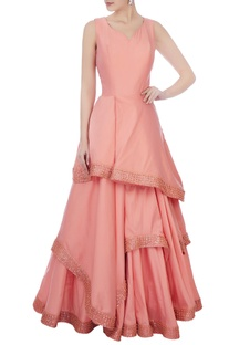 Blush pink raw silk ruffle layered gown