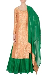 Peach & green pure silk & georgette brocade kurta lehenga set