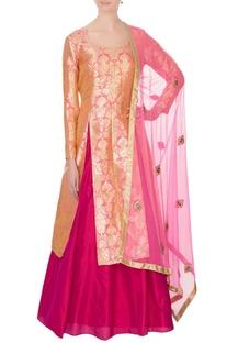 Peach & pink pure silk brocade kurta lehenga set