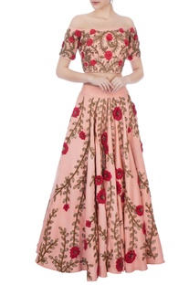 Blush pink rose embroidered lehenga with off-shoulder blouse