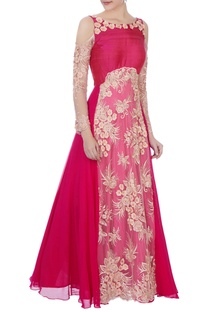 Dark pink net embroidered cold shoulder gown