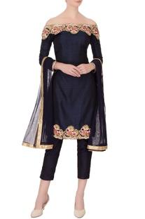 Navy blue pure raw silk embroidered kurta set
