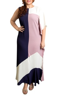 Color blocked textured poly georgette kaftan maxi dress