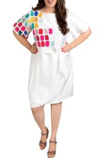 White dupion silk tile art overlap dress