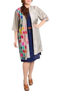 Grey dupion silk tile print jacket
