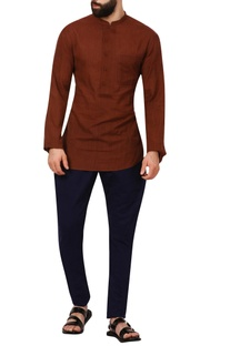 Brown band collar khadi cotton shirt