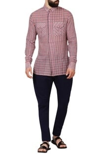 Multicolored check woven handloom cotton shirt