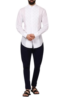 White dobby cotton formal shirt