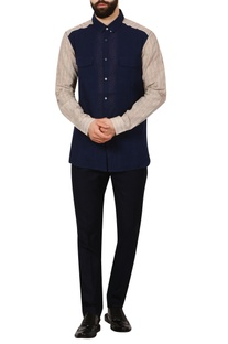 Blue button-down check handloom cotton shirt
