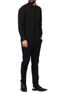 Black shirt with embroidered star motifs