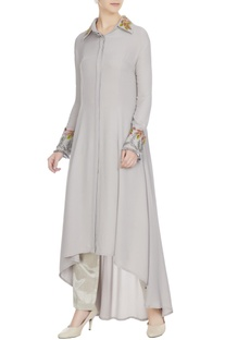 Grey double georgette resham embroidered tunic